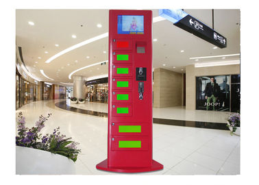 China 8 Digital Mobile Charging Lockers , Red Color Commercial Cell Phone Charging Station factory
