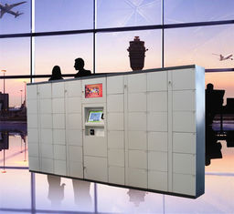 Airport Train Station Baggage Locker With Credit Card Payment And Advertising Screen