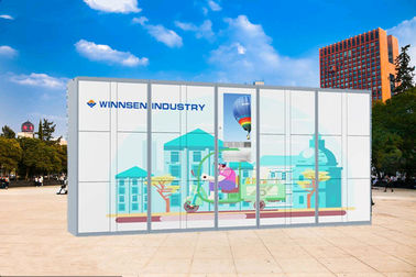 China Steel Parcel Delivery Lockers / Logistics Parcel Collection Lockers Touch Screen factory
