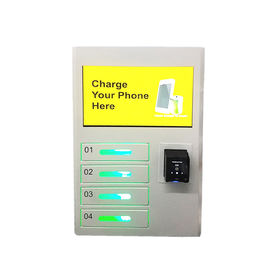 China 4 Electric Lockers Wall Mount Cell Phone Charging Station Kiosk With Advertising Screen factory