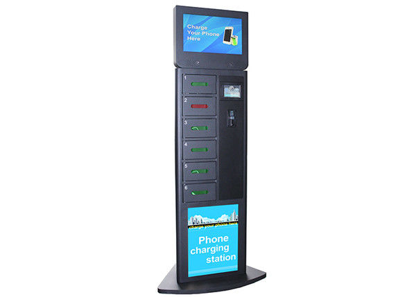 6 Secured Electronic Lockers Cell Phone Charging Kiosks for Airport / Train Station / Bus Station supplier