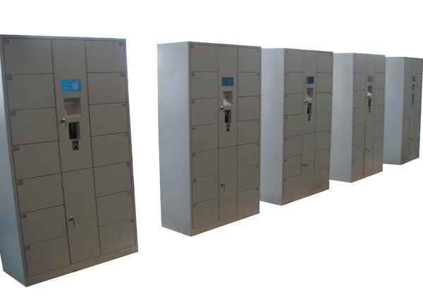 Stainless Steel 12 Doors Electronic Lockers , Outdoor LCD Screen Rental Storage Lockers System