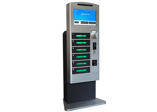 Coins / Bills Accepted Train Station Cell Phone Charging Tower Station with Deposit Locker supplier