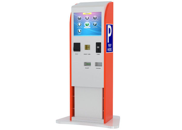 Bills / Coins / Cards Accepted Touch Screen Stands Kiosk for Parking Payment Indoor supplier