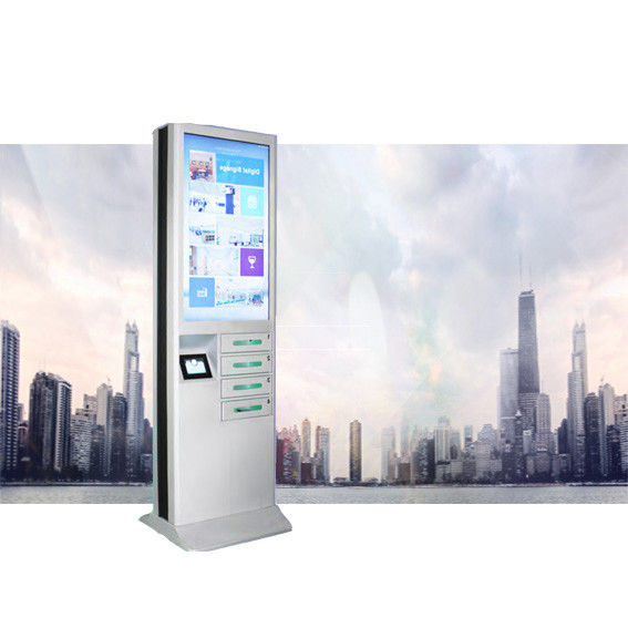 White CRS Material Cell Phone Charging Stations With 43 Inch Digital Signage