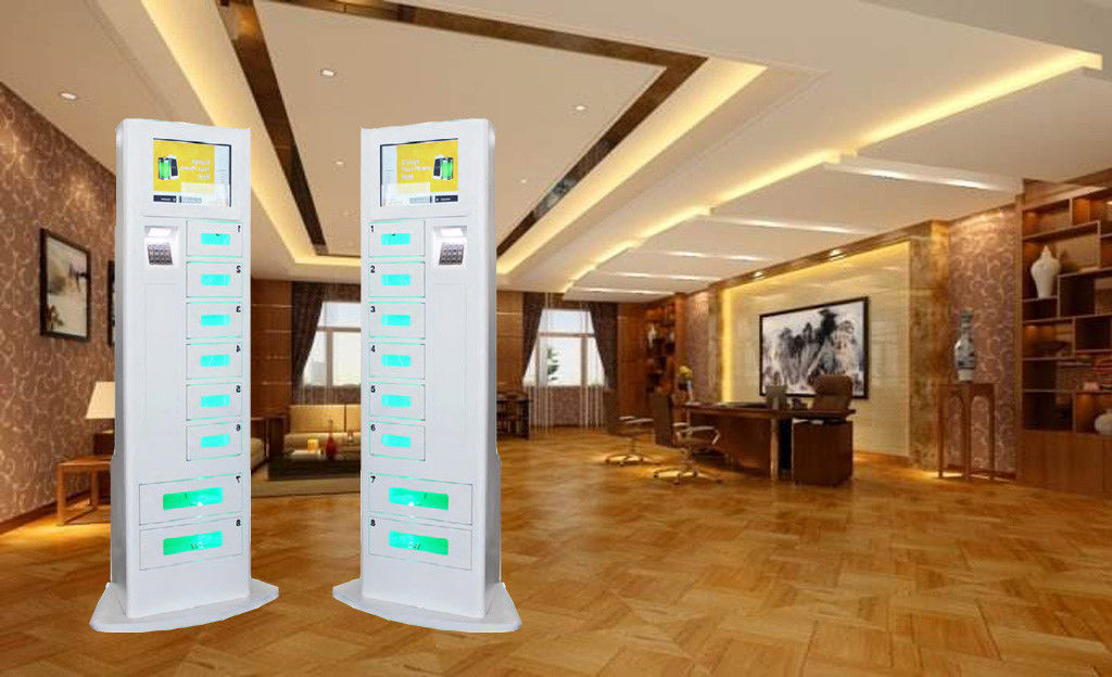 Advertising Function Steel Coin Operated Phone Charging Station White color Locker With 8 Doors And Big Touchscreen