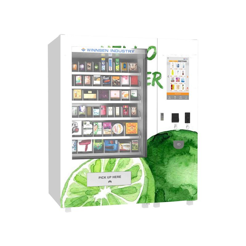 High Grade Big Capacity Drink Vending Machine With 22 Inch Advertising Display