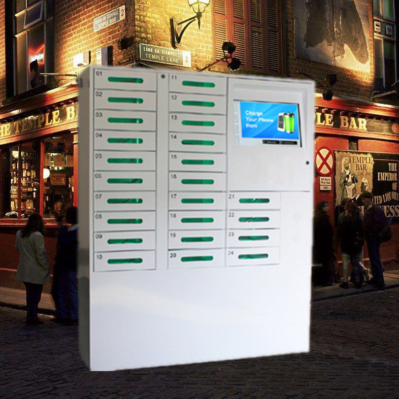 24 Door Big Screen Mobile Phone Charging Kiosk For Russia Accept Ruble Coins And Papermoney