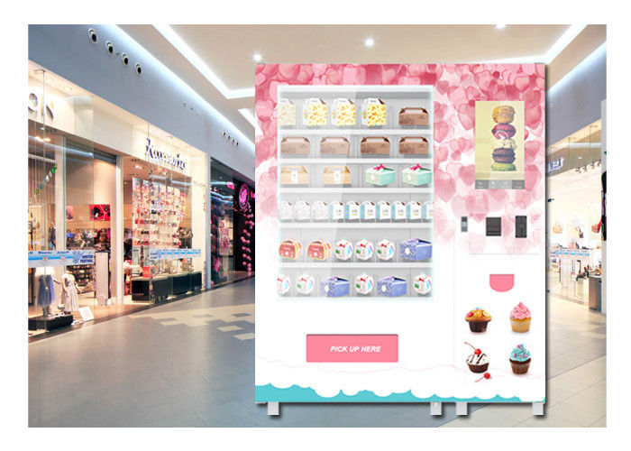 Coin Operated Advertising Food Vending Machine , Cupcake Bread Snack Vending Machine supplier
