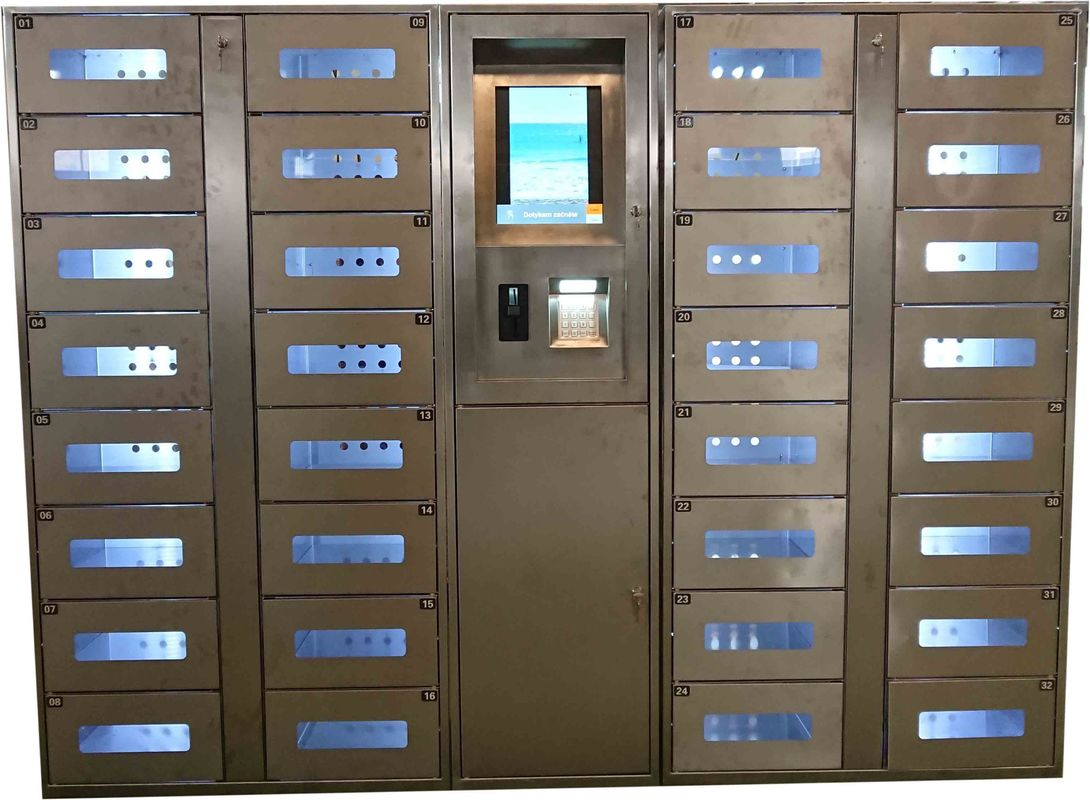 Stainless Steel Vending Locker With LED Lights And Transparent Doors Remote Control Function supplier