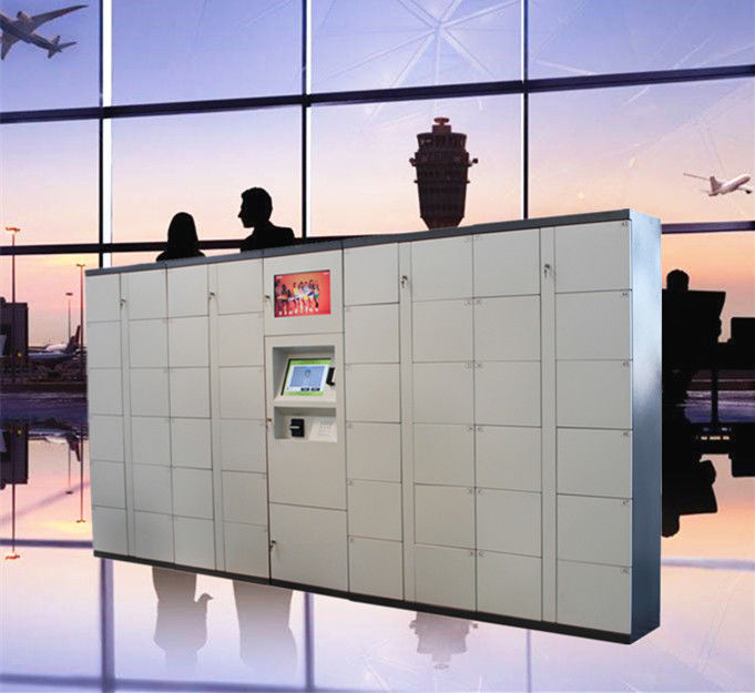 Airport Train Station Baggage Locker With Credit Card Payment And Advertising Screen supplier