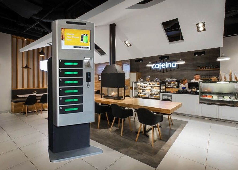 Restaurant Subway Cell Phone Charging Stations With Advertising LCD Screen supplier