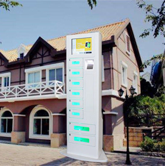 8 Lockers Free Cell Phone Charging Stations Advertising Kiosk With Different Languages UI supplier