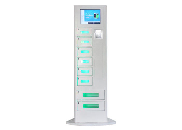 Cell Phone Recharge Station with LCD Touch Screen , 8 Lockers Battery Charging Stations Kiosk supplier