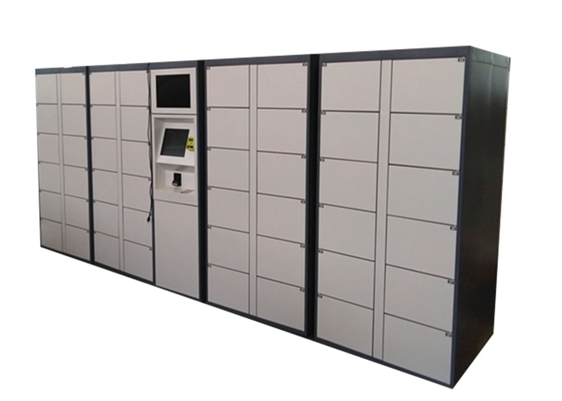 Stainless Steel 40 Doors Electronic Lockers , Outdoor LCD Screen Rental Storage Lockers System supplier