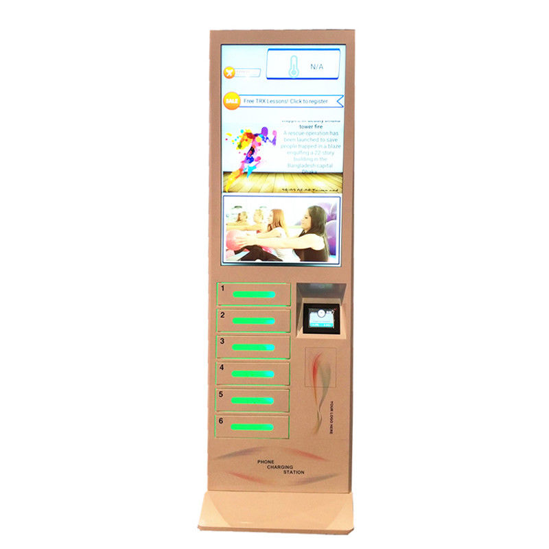 "Coin Operated Floor Stand Cell Phone Charging Machine Mobile Phone Charging Station with 43"" LCD screen supplier"