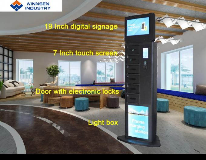 Winnsen Cell Phone Charging Stations 19 inch Big Screen Digital Signage on Top
