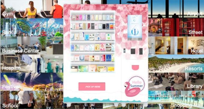 Coin Operated Advertising Food Vending Machine , Cupcake Bread Snack Vending Machine