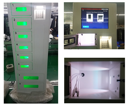 8 Lockers Free Cell Phone Charging Stations Advertising Kiosk With Different Languages UI