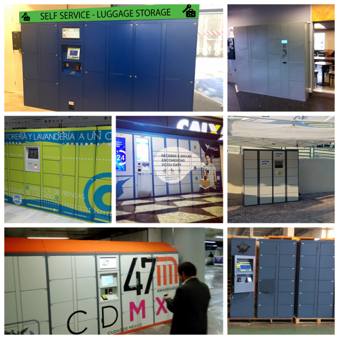 Stainless Steel 40 Doors Electronic Lockers , Outdoor LCD Screen Rental Storage Lockers System